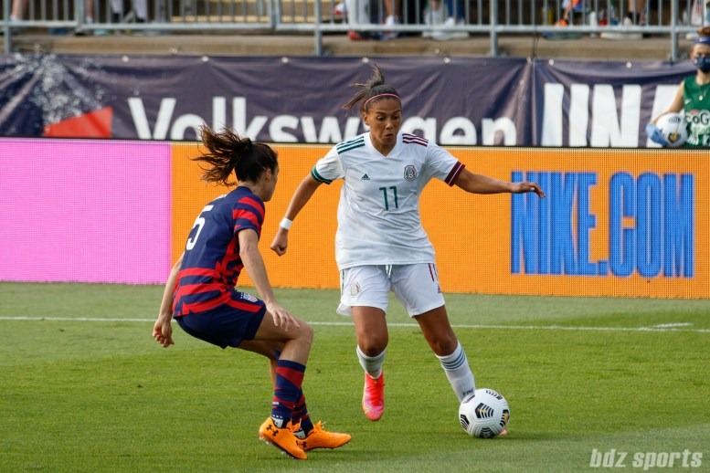 Team Mexico midfielder Maria Sanchez (11) controls the ball in the second of two 2021 WNT Send-Off Series games between the USWNT and Mexico at Rentschler Field in East Hartford, CT on July 5, 2021.