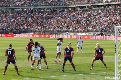 Team Mexico midfielder Rebeca Bernal (6) redirects the ball towards goal in the second of two 2021 WNT Send-Off Series games between the USWNT and Mexico at Rentschler Field in East Hartford, CT on July 5, 2021.