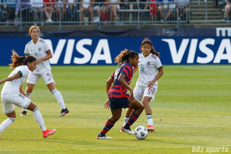 USWNT forward Catarina Macario (19) controls the ball in the second of two 2021 WNT Send-Off Series games between the USWNT and Mexico at Rentschler Field in East Hartford, CT on July 5, 2021.