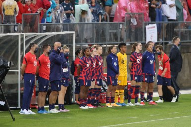 The USWNT bench in the first of two 2021 WNT Send-Off Series games between the USWNT and Mexico at Rentschler Field in East Hartford, CT on July 1, 2021.