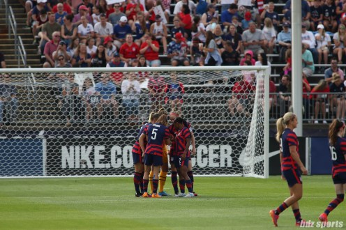 Team USA defense huddles in the second of two 2021 WNT Send-Off Series games between the USWNT and Mexico at Rentschler Field in East Hartford, CT on July 5, 2021.