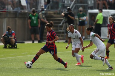 USWNT midfielder Carli Lloyd (10) controls the ball in the second of two 2021 WNT Send-Off Series games between the USWNT and Mexico at Rentschler Field in East Hartford, CT on July 5, 2021.
