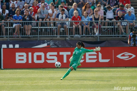 Team Mexico goalkeeper Itzel Gonzalez (12) punts the ball in the second of two 2021 WNT Send-Off Series games between the USWNT and Mexico at Rentschler Field in East Hartford, CT on July 5, 2021.