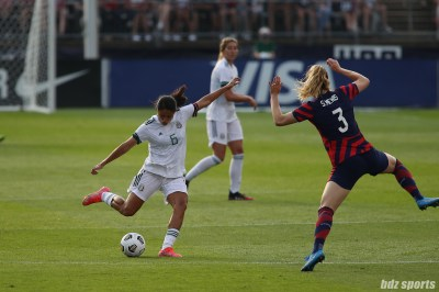 Team Mexico midfielder Rebeca Bernal (6) sends the ball out side in the second of two 2021 WNT Send-Off Series games between the USWNT and Mexico at Rentschler Field in East Hartford, CT on July 5, 2021.