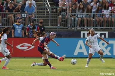 USWNT midfielder Megan Rapinoe (15) takes a shot on goal in the second of two 2021 WNT Send-Off Series games between the USWNT and Mexico at Rentschler Field in East Hartford, CT on July 5, 2021.