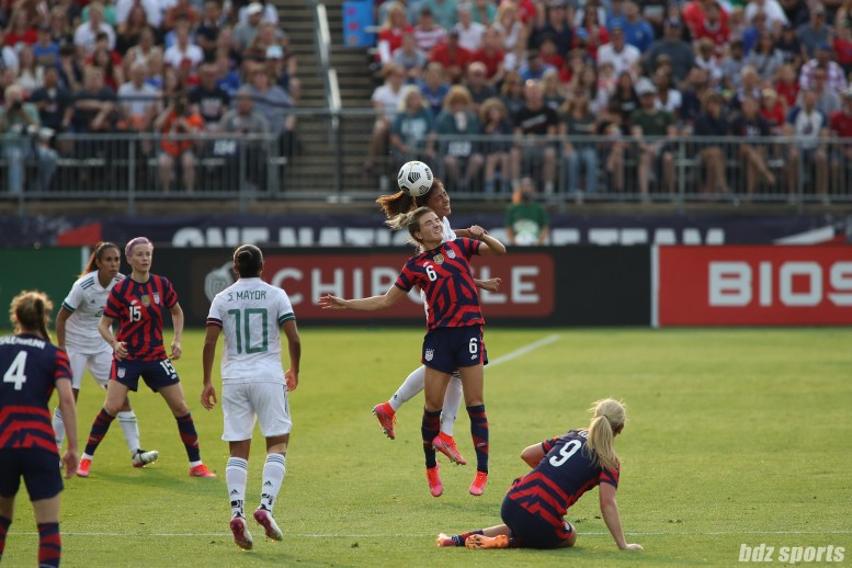 USWNT midfielder Kristie Mewis (6) challenges Team Mexico midfielder Nancy Antonio (16) for an aerial ball in the second of two 2021 WNT Send-Off Series games between the USWNT and Mexico at Rentschler Field in East Hartford, CT on July 5, 2021.