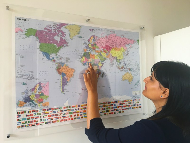 World map and Bejal