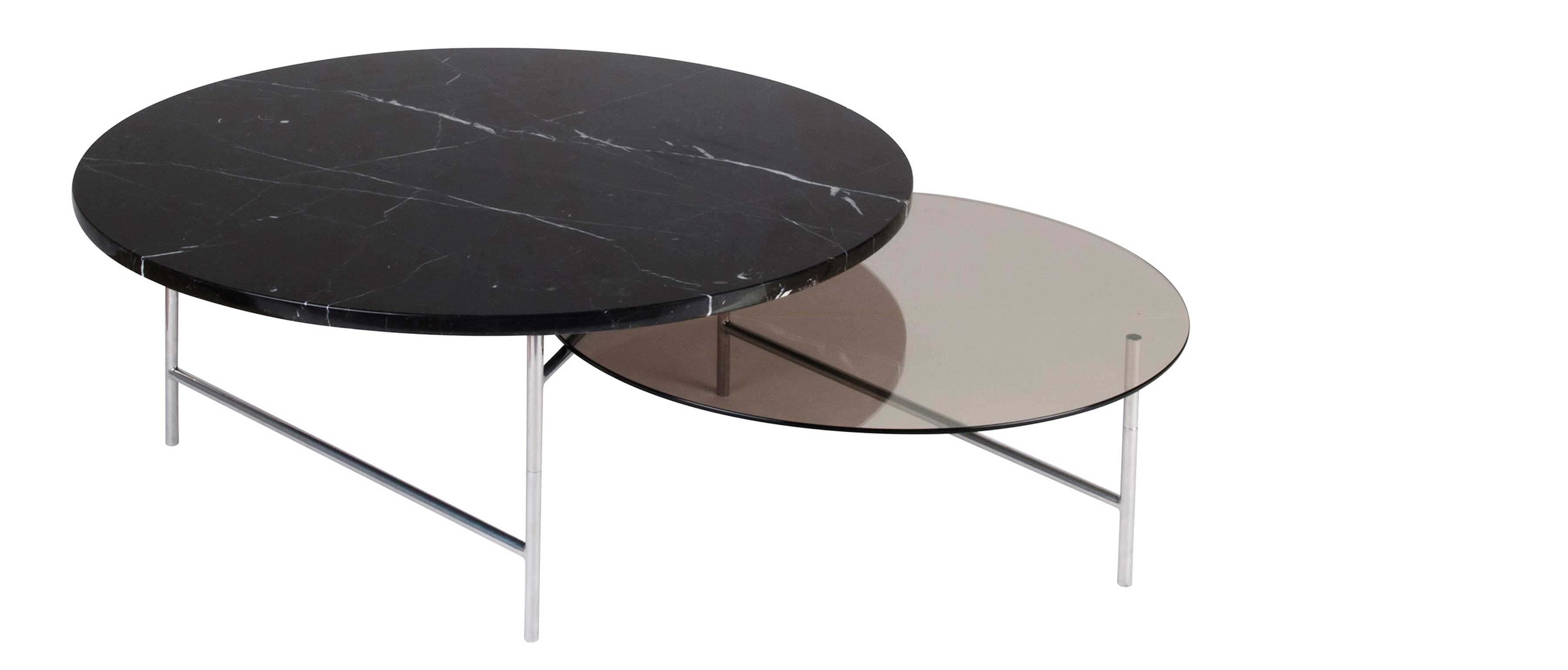 table basse avec plateaux en verre et marbre noir zorro
