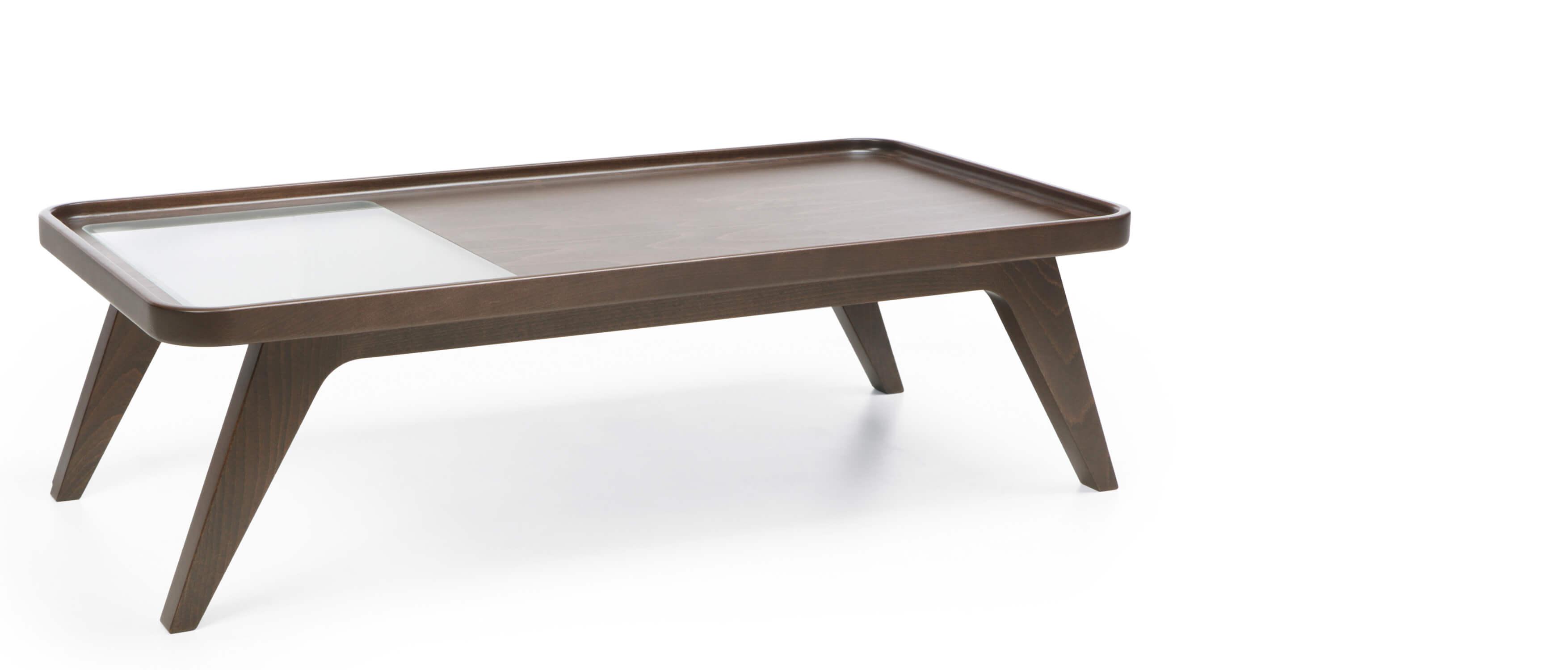 table basse plateau et pieds bois avec verre trempe en option oc
