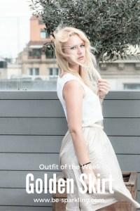 Miriam Ernst, Fashion Blogger, Golden skirt, white shirt, blonde, girl