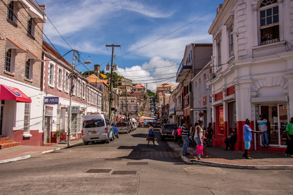 Caribbean, Grenada, Saint George, View from theMarket, Houses, People
