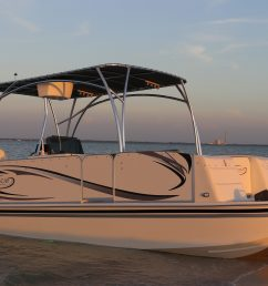 the beachcat 23 sport fish is the perfect pontoons for the avid angler comes equip with 2 32 gallon live well in deck insulated fish box  [ 3984 x 1992 Pixel ]