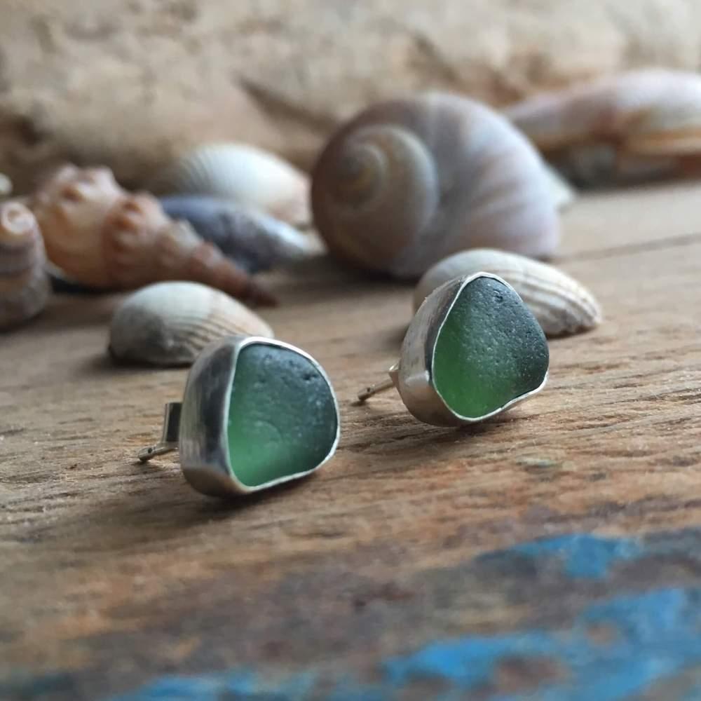 Green Sea Glass Stud Earrings