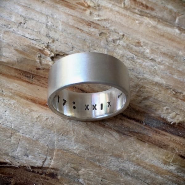 secrets recycled silver band ring