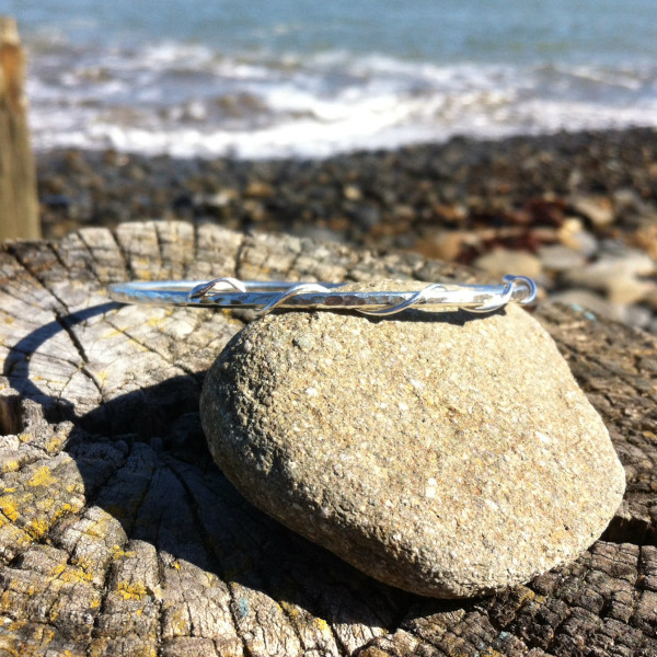 tendril wrapped recycled silver bangle