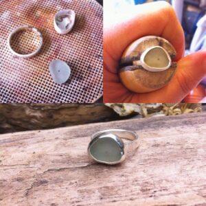 making a custom sea glass ring