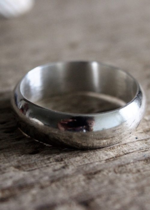 6mm D-shaped recycled silver ring
