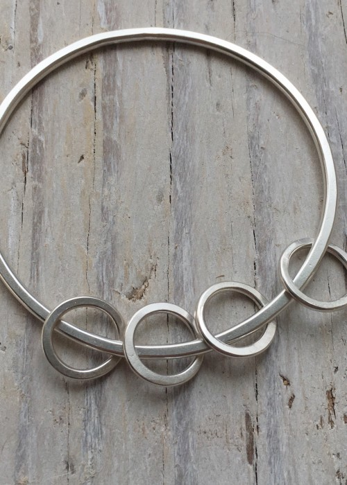'circles and circles' recycled silver bangle