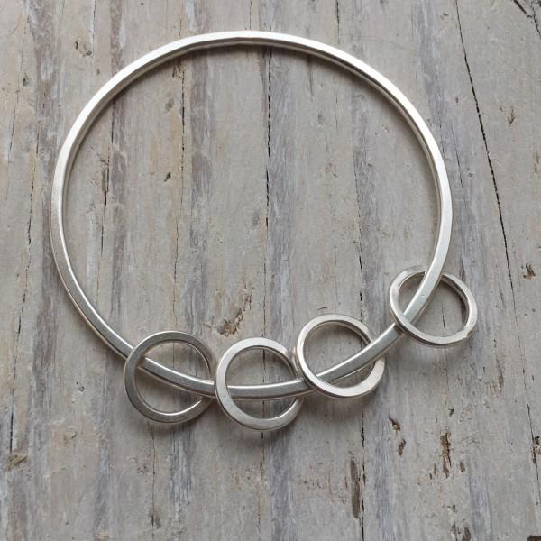 'circles and 'circles' recycled silver bangle