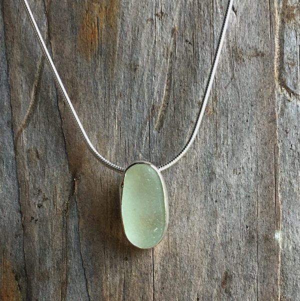simple sea mist sea glass pendant