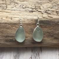 Seafoam Sea Glass Drop Earrings