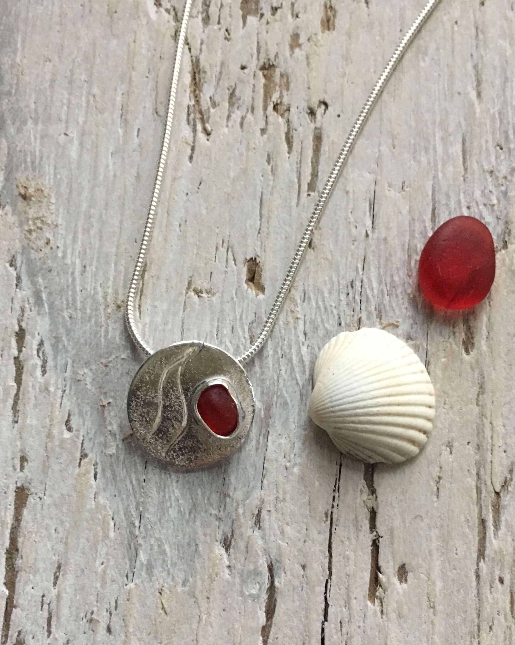 Ripples red sea glass pendant