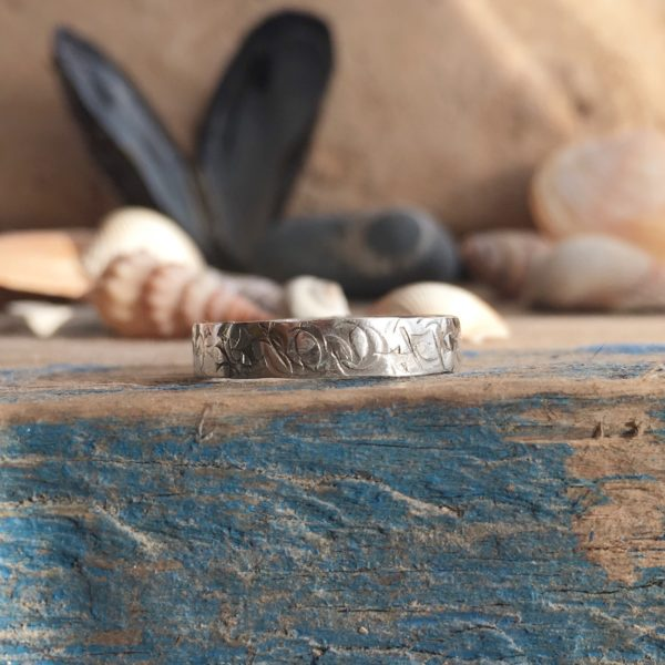 Cliffs – recycled silver square band ring