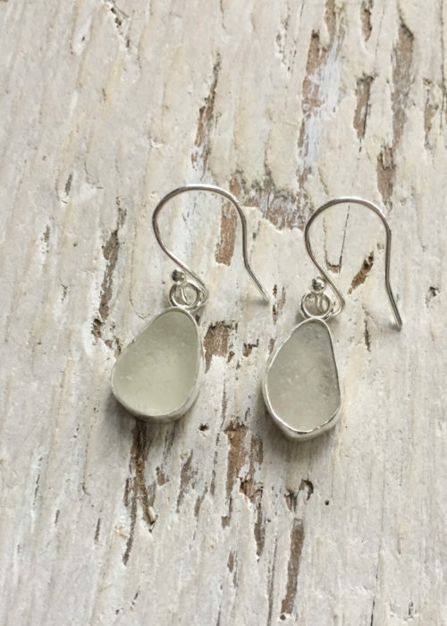 Frosted sea glass earrings