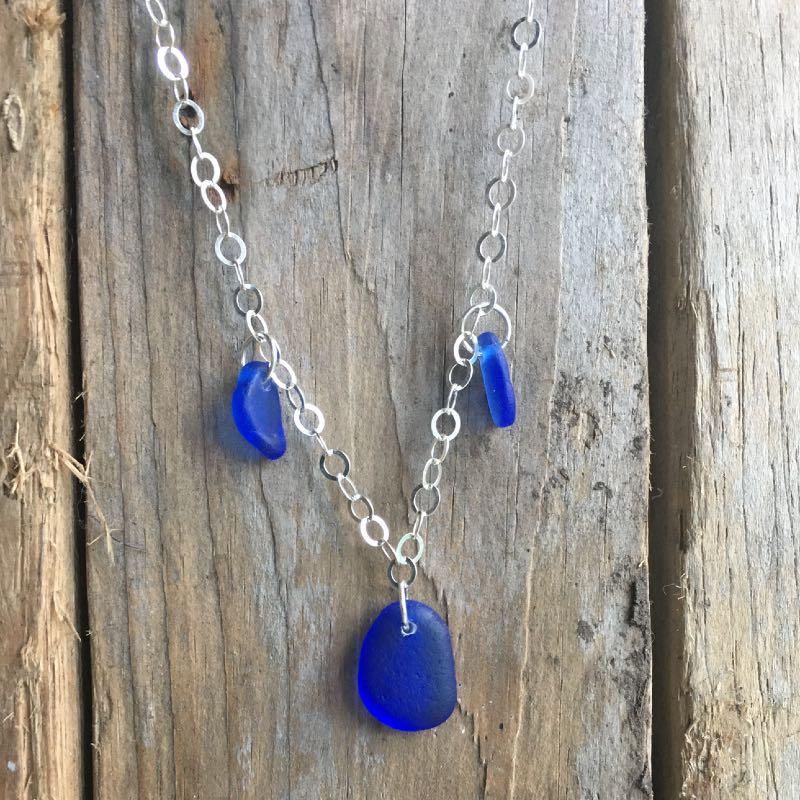 cobalt blue sea glass charm necklace