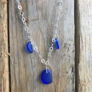 cobalt blue sea glass charm pendant