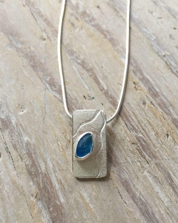 Ripples Blue Sea Glass Pendant