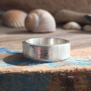 sand textured recycled silver band ring