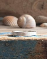 sand- recycled silver square band ring