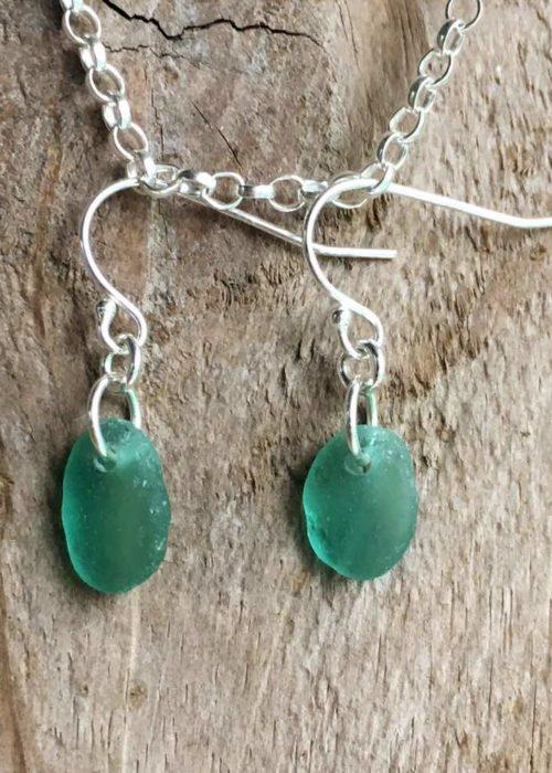 sea green sea glass silver earrings