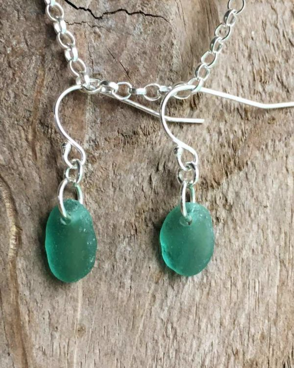 sea green sea glass silver earrings