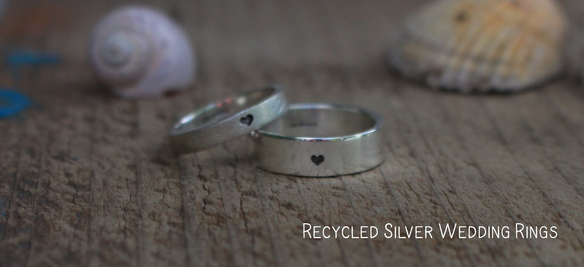 Recycled silver wedding rings