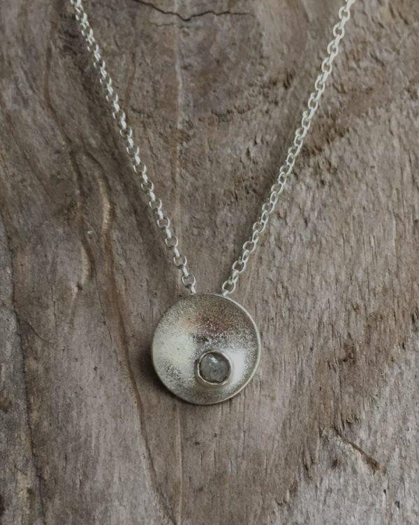 rough diamond on sand pendant