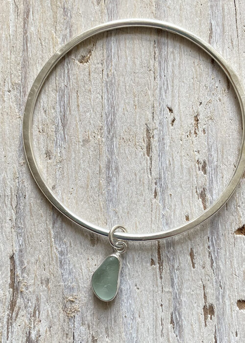 recycled silver bangle with sea glass charm