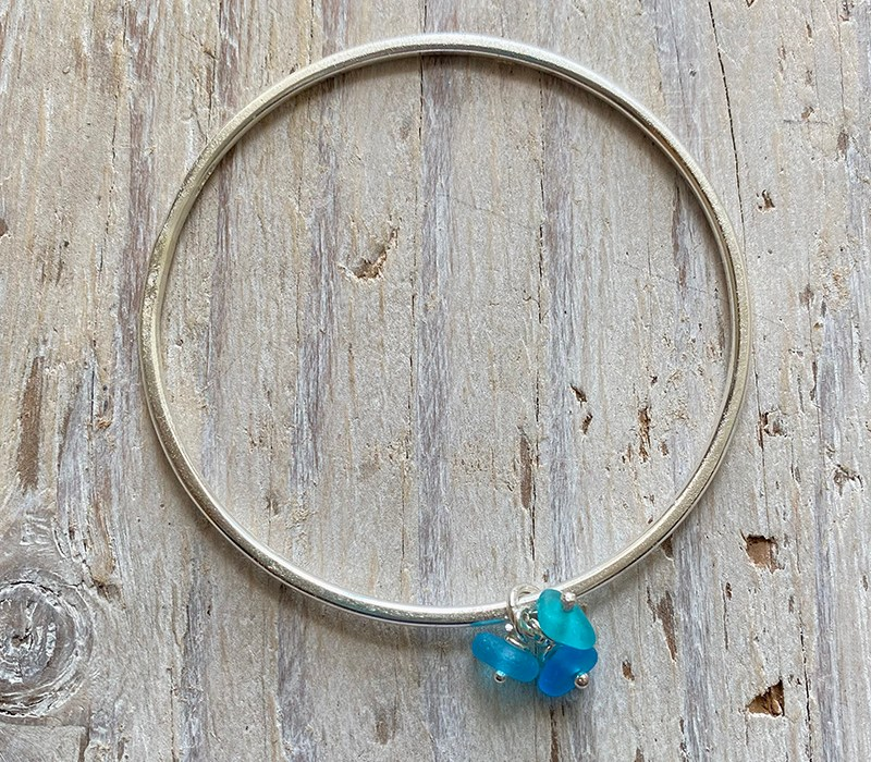 recycled silver sea glass charm bangle