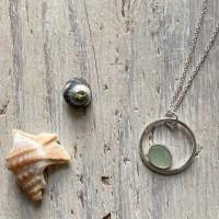 cucumber sea glass circle pendant