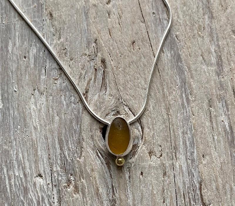 Amber seaglass pendant