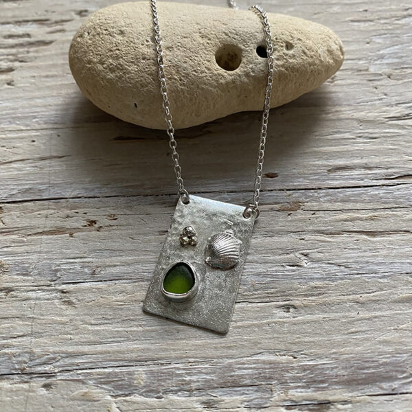 On the beach sea glass pendant