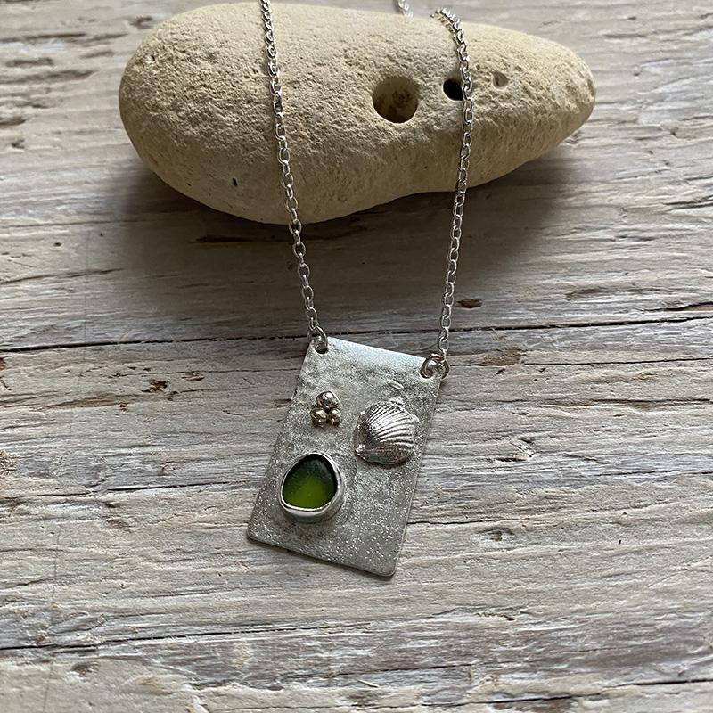 On the beach sea glass pendant