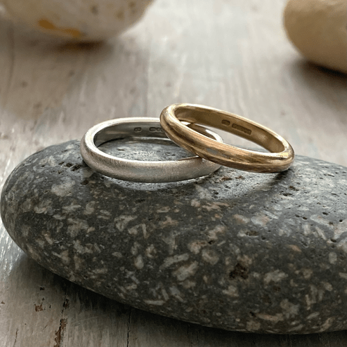 Recycled gold and silver wedding rings