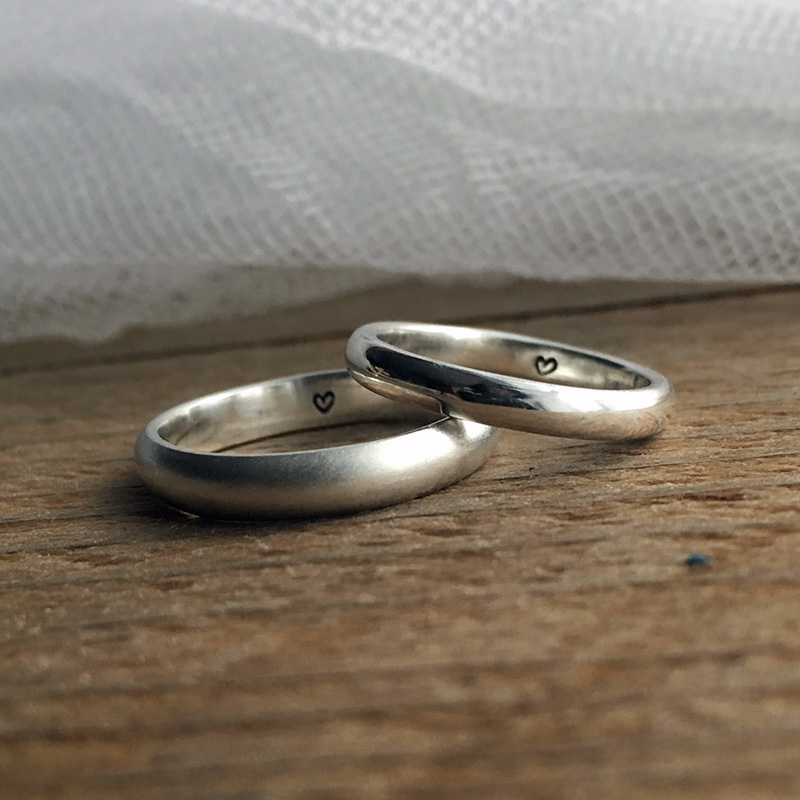 bespoke hand made recycled silver wedding rings