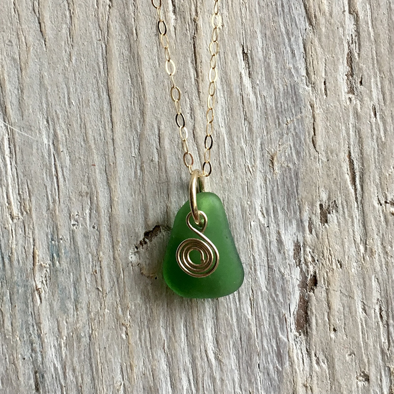 Green seaglass and recycled gold pendant