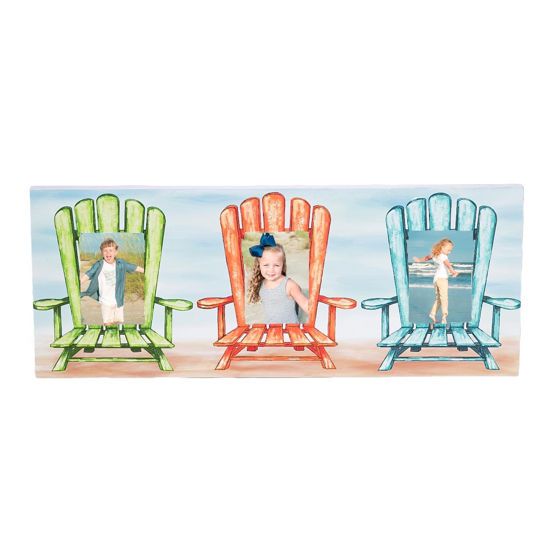 beach chair photo frame outdoor side chairs 5x3 5 triple beachcombers coastal life