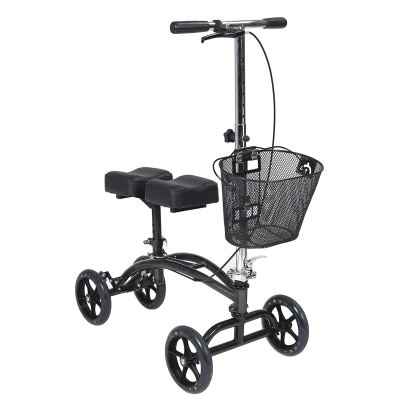 The knee scooter is an alternative to standard crutches.