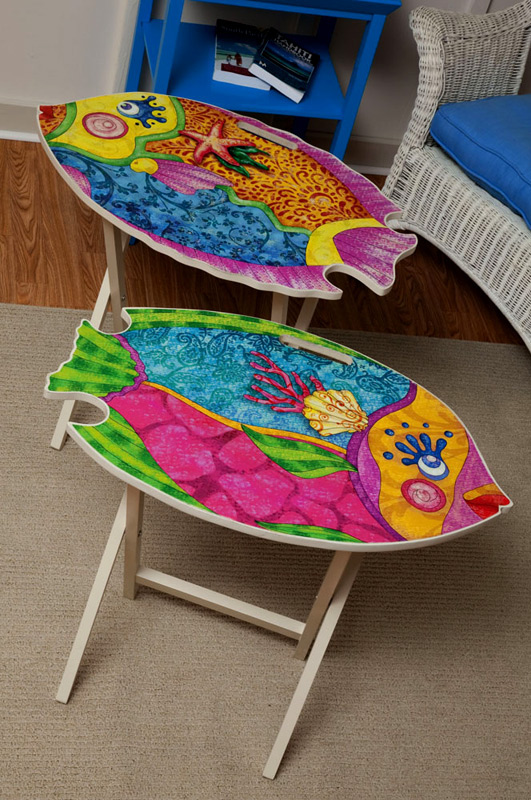Funky Fish Wooden TV Trays