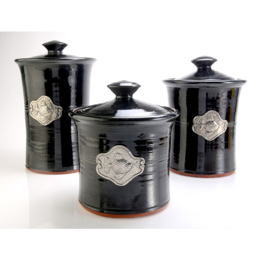 Fish 3 Piece Stoneware Canister Set in 4 Colors  Beach Dcor Shop